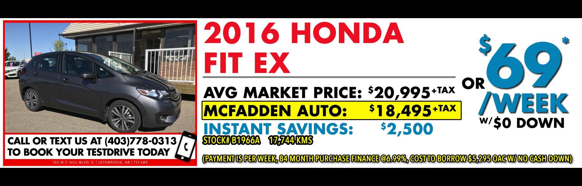 McFadden Auto - B1966A - 2016 Honda Fit EX - Nov 2017 - 1