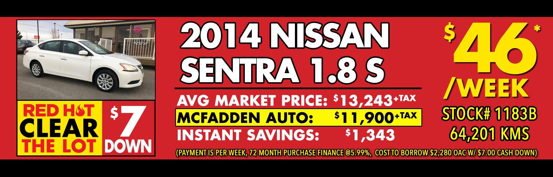 Red Hot - 1183B 2014 Nissan Sentra S - Mar 2018