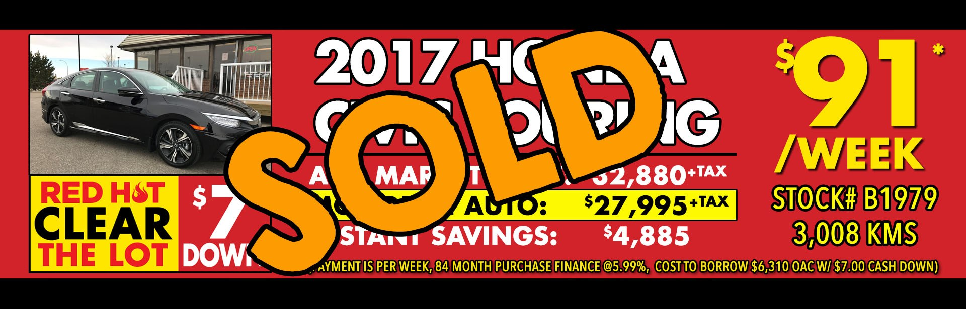 Red Hot - B1979 2017 Honda Civic Touring - Mar 2018 - Sold