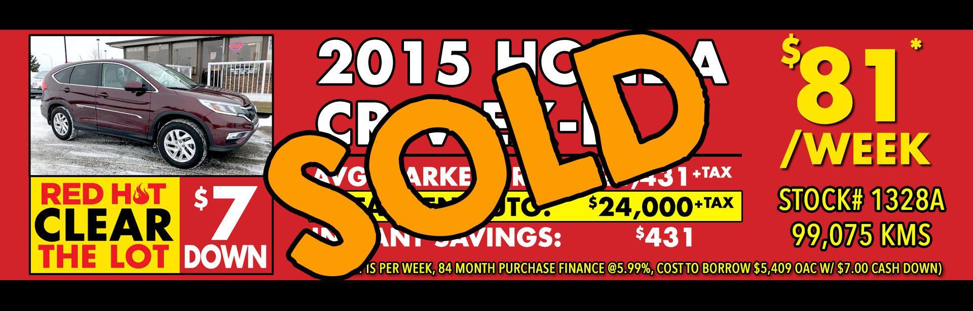 Red Hot - 1328A - 2015 Honda CR-V EX-L - Mar 2018 - Sold